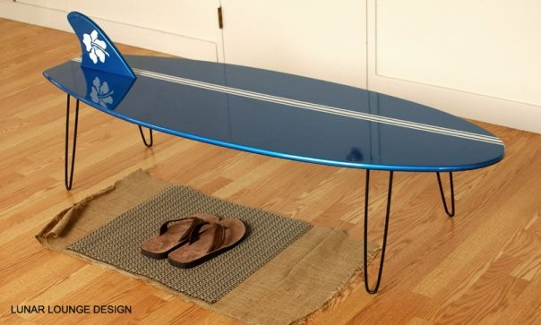 Surf board coffee table lunar lounge for Surfboard coffee table